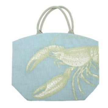 Two's Company Pastel Aquatic Burlap Jute Tote Bag Town City Beach Market (Lobster)