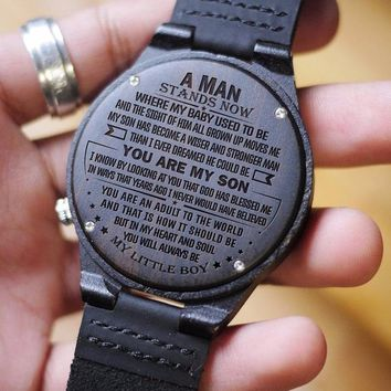 Mom To Son To My Son Man Stands My Baby Used To Be Grown Up Moves Me Wiser Strong Dreamed God Blessed My Boy Engraved Wooden Watch