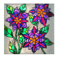Purple flowers painting, suncatcher, stained glass