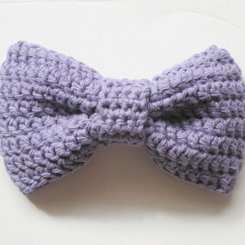 Crochet Extra Large Cotton Bow Hair Clip Barrette in Lavender, ready to ship - $9.00.