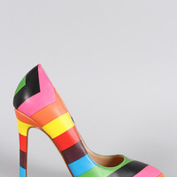 Liliana Rainbow Chevron Pointy Toe Stiletto Pump