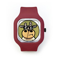 Cool Cow Watch in a Crimson Strap