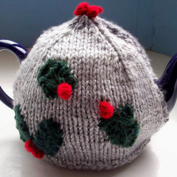Four Seasons Tea Cosy Winter holly and the ivy unique fun knit by SpinningStreak
