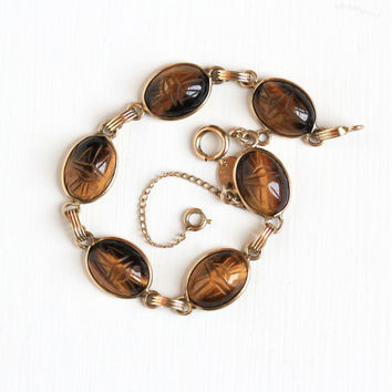 Vintage 12k Yellow Gold Filled Tiger's Eye Scarab Bracelet - Retro 1960s Carved Beetle Gem Egyptian Revival Jewelry Hallmarked Burt Cassell