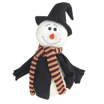 Plush Witch Snowman with Witch Robe and Hat Holiday Decor, White/Black, 15-Inch