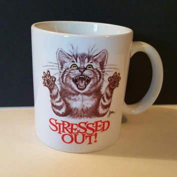 Stressed Out Coffee Mug, Cat Mug, Personalized Coffee Mug, Quote Mug