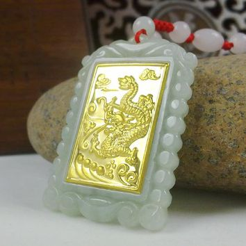 2018 Gold Jade Square Style Dragon Pendant Good Quality Men Women Necklace