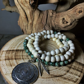 MAYAN Mala Beads | Unisex Mala Necklace | Green Jasper & White Wood | 108 Mala Beads | Mayan Calendar | Japa Mala Meditation Yoga Prayer