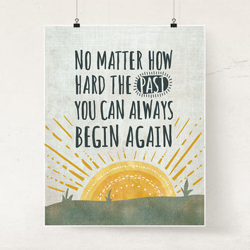 Buddhist quote art print, Illustrated recovery poster, Motivational gift, Begin Again, Rising sun wall art, Rehab gift, Therapy office decor