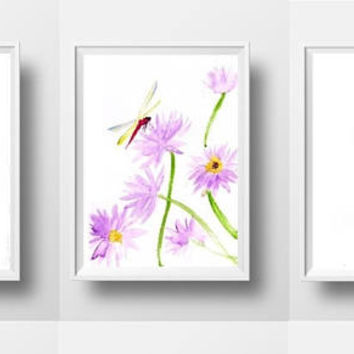 Water lily dragonfly Set of 3 print watercolor painting purple flower decor illustration wall art girl print nursery blue lotus floral decor