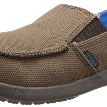 Crocs Boys' Santa Cruz Canvas Loafer GS Espresso/Espresso Little Kid (4-8 Years) 1 M US Little Kid '
