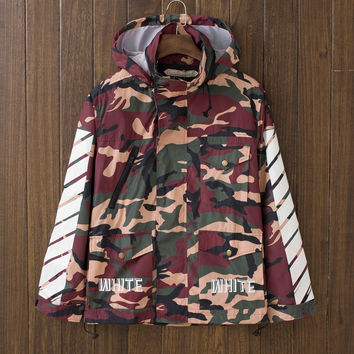 Men's Camo Print Slim Fit Quilted Lightweight Jackets with Hood