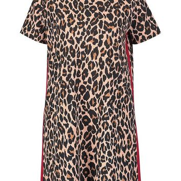 Leopard Print Contrast Panel Shift Dress | Boohoo