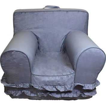 Grey with Ruffles Chair Cover for Foam Childrens Chair