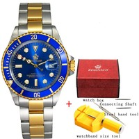 2018 Mens Watches Gold Quartz Watches Top Brand Luxury Stainless Steel Male Sports Watch Clock Golden Casual relogio invicta