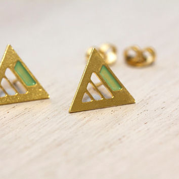 Stud Earrings. Triangle earrings. Small triangle earrings. A golden triangle with a delicate mint green strip on top.