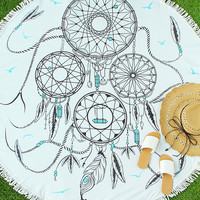 White Dream Catcher Design Fringe Round Beach Blanket