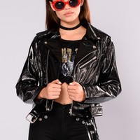 Better Work It Patent Leather Jacket - Black