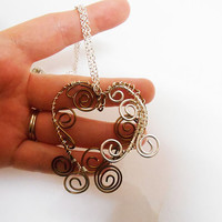 Once Upon a time abc heart necklace wire wrapped princess copper and silver heart pendant necklace jewelry