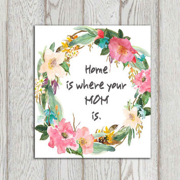 Mother's day gift idea Print Home is where your mom is printable Watercolor flower wreath 5x7 8x10 INSTANT DOWNLOAD Floral Typography art