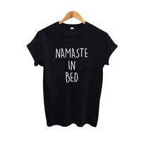 Namaste In Bed Tshirt Harajuku Slogan T Shirt Women Fashion T Shirt Women Clothes Summer 2018 Tumblr Clothing
