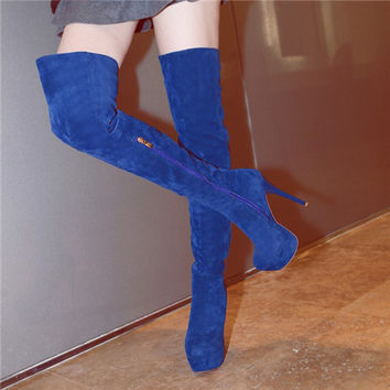Sexy Woman Round Toe  high Heel Platform Over The Knee Boots Shoes