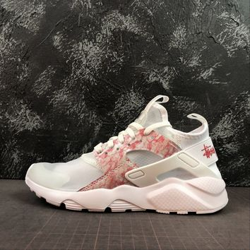 Stussy x Nike Air Huarache Run Ultra White Red Floral Running Shoes - Best Deal Online