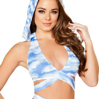 Blue Cloud Wrap Around Halter Top with Detachable Hood
