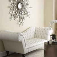 """Leala"" White Leather Sofa - Horchow"