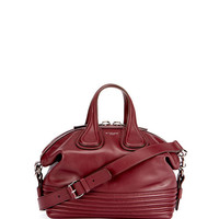 Givenchy Nightingale Small Leather Biker-Stitch Satchel Bag, Red
