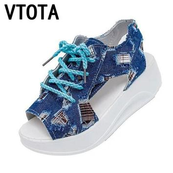 VTOTA Fashion Women Sandals Denim Summer Shoes Soft Sandals muffin Shoes Woman Patch Waterproof Wedges Platform Sandals X468