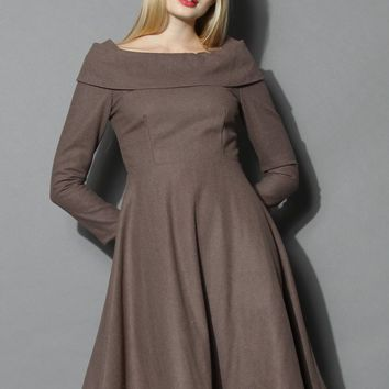 Festive Wool-blend Prom Dress in Taupe