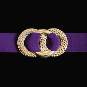 1980's Wide Elastic Purple Belt, With Large Gold Triple Circle Buckle