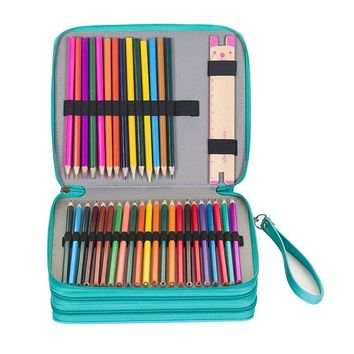 124 Holders 3 Layers PU Leather School Pencil Case Large Sketch Pencilcase Art Pen Bag Multifunction Penalty Pouch Box Supplies