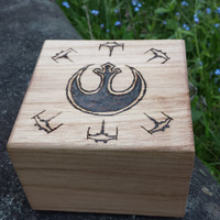 Star wars inspired Woodburned box jedi Rebel Alliance storage box pyrography fan art