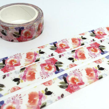 Vibrant flower washi Tape 10M x 1.5cm pretty flower Floral blossom watercolor flower pattern deco tape sticker scrapbook wrapping gift