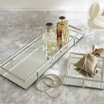 MIRRORED BRAIDED DRESSER-TOP TRAYS