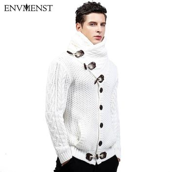 Winter High-collar Cardigan Sweater Men Warm Thick Coat Sweaters