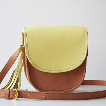 Cross Body Leather Bag in Nude and Lime Yellow
