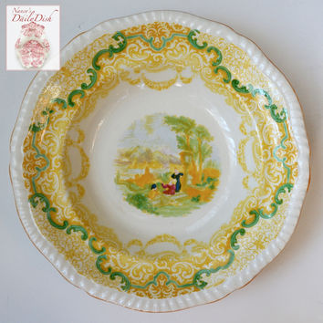 RARE Yellow Transferware Spode Copeland Continental Views Salad Plate Hand Painted