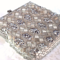 50s Vintage Silver Sequin & Beaded Evening Bag  by Mercivintage