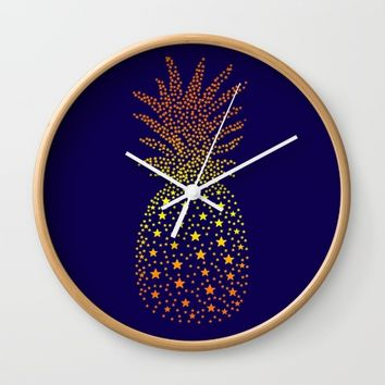 Golden Pineapple Stars Wall Clock by ES Creative Designs