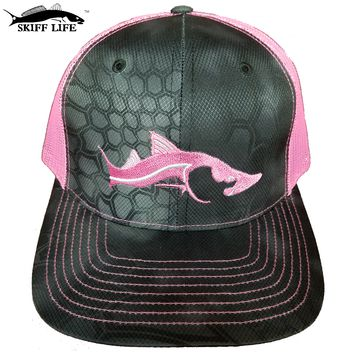 Only Three Left! Typhon Camo Hat Neon Pink Meshback Pink/Silver Snook