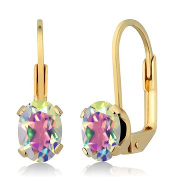 1.90 Ct Oval Mercury Mist Mystic Topaz Gold Plated 4-prong Leverback Earrings