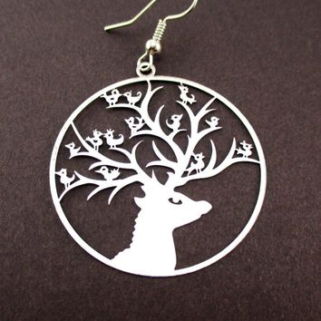 Birds on a Stag Silhouette Cut Out Filigree Dangle Earrings in Silver | DOTOLY