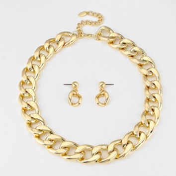 Urban glam gold curb chain necklace set