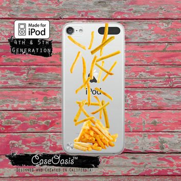 French Fries Falling Fry Funny Food Tumblr Case for Clear Transparent Rubber iPod Touch 5th Generation Case 5th Gen Cover or iPod 6th Gen