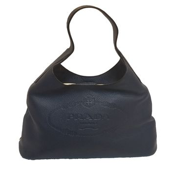Prada Women's Vitello Daino Tote Shoulder Hand 1bc026 Blue Leather Hobo Bag