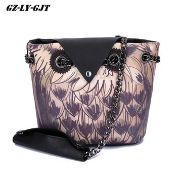 GZ-LY-GJT Shoulder Bags For Women Crossbody Bag Ladies Party Evening Female PU Leather Big Summer Autumn Owl Printed Luxury Bags