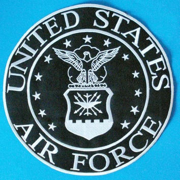 US Air Force Large Back Patch Black & White for Vest Jacket 10 inch